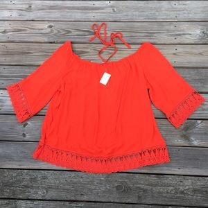 NWT Cato blouse red orange off shoulder halter